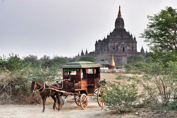 Horse-drawn cart are still used in Bagan