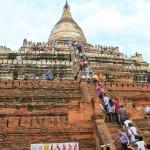 Visitors at Shwe Sandaw Pagoda