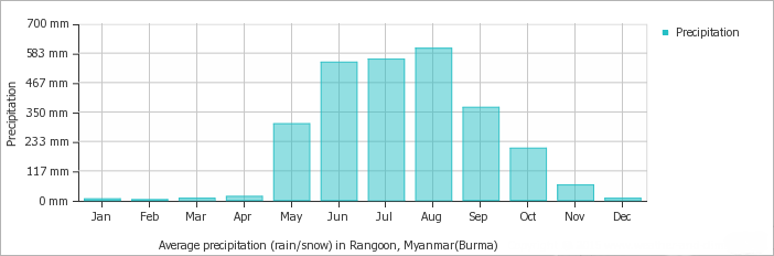 Yangon average monthly precipitation over the year (rainfall, snow)