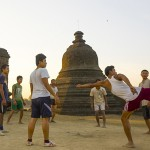 Men Playing Chinlone In Front Of Stupas, Myanmar