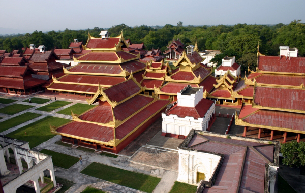 Panoramic view of Mandalay Palace from the top building