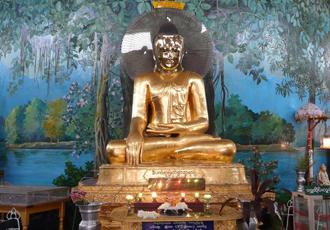 Buddha image inside Kabar Aye Pagoda