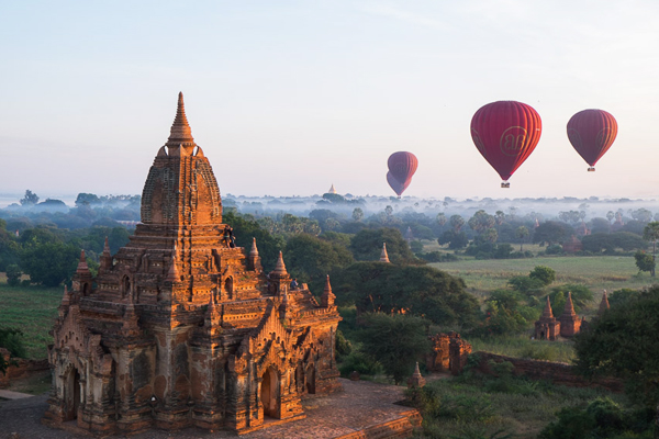 Hot air ballooning over the land of temples