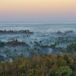 Mingalar Man Aung Pagoda among the fog of mysterious Mrauk U