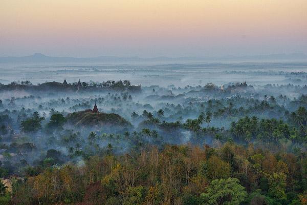 Mingalar Man Aung Pagoda among the fog of mysterious Mrauk U