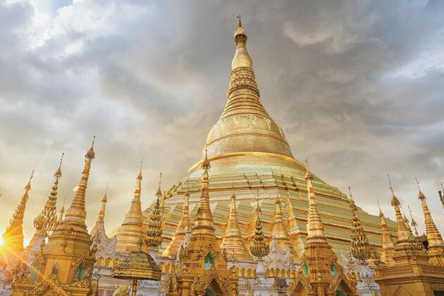 Shwedagon pagoda in the sunset