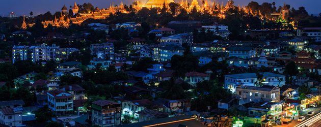 Dazzling Shwedagon at night in Yangon