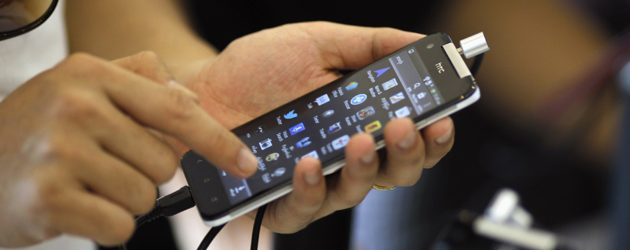 Smart phone acquired to access the internet in Myanmar