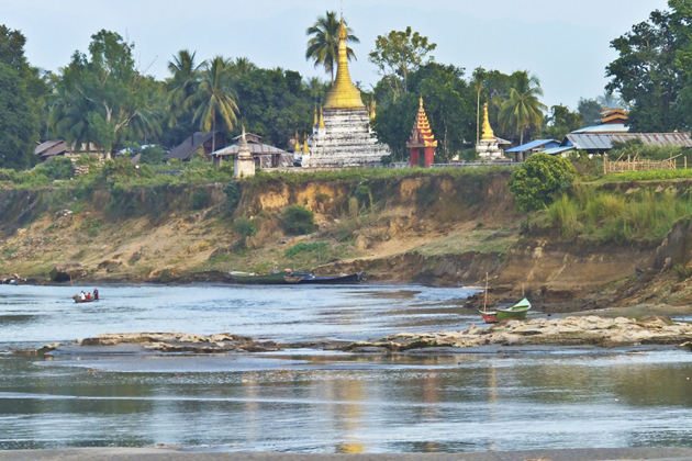 A Pagoda in Bhamo - view from Irrawaddy River