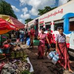 A local market in a stop of circular train journey
