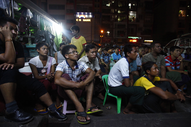 Burmese crowd watching TV program in Yangon