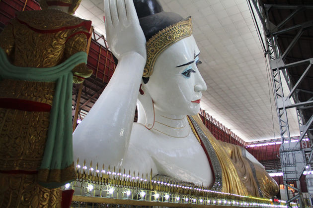 Huge reclining Buddha worshiped in Chauk Htat Gyi Pagoda