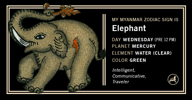 Myanmar Animal Zodiac Sign - Elephant