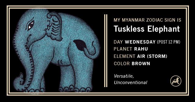 Myanmar Animal Zodiac Sign - Tusk-less Elephant