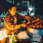 Street vendor in Yangon at night