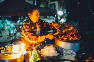 Street vendor in Yangon at night