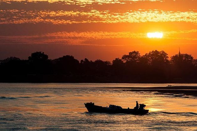 Beautiful sunset over the Chindwin River