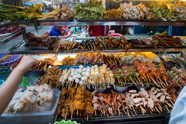 Myanmar street food - Grilled Skewers