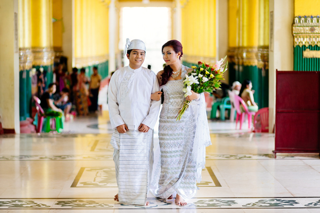 Burmese couple in their wedding