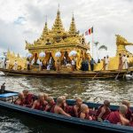 Boat racing performance during Phaungdawoo Pagoda Festival