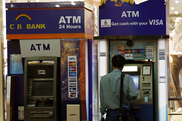 ATMs are popular in major cities in Myanmar