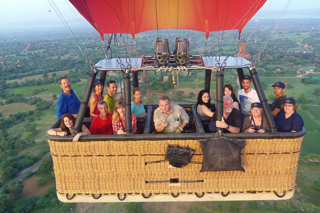 Big family on hot-air balloon trip in Myanmar