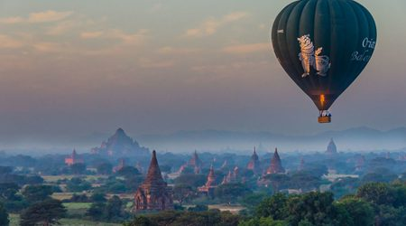 Hot-air balloon in Myanmar