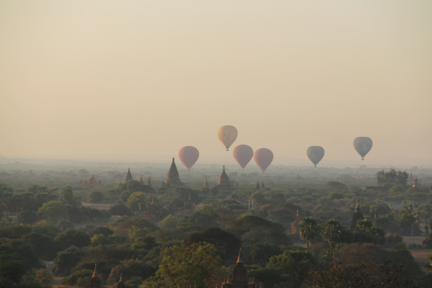 Hot-air balloon over Bagan