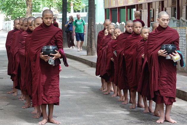 Morning ceremony of the monks in Mahagandayon Monastery