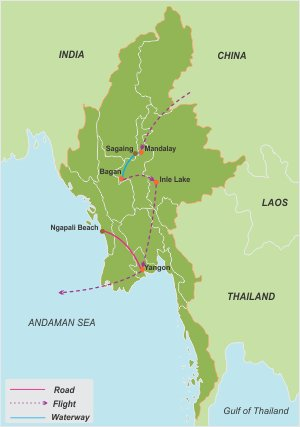Burma Culture and Beach – 12 Days map