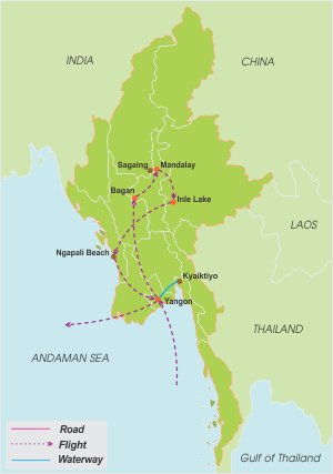 Essence of Myanmar – 20 Days map