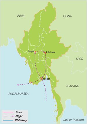 Glimpse of Myanmar – 6 Days map