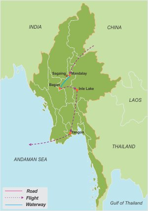 Imperial Myanmar – 10 Days map