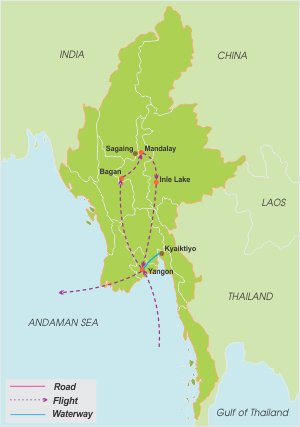Landscape of Myanmar – 11 Days map