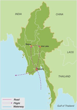 Sacred Myanmar – 9 Days map