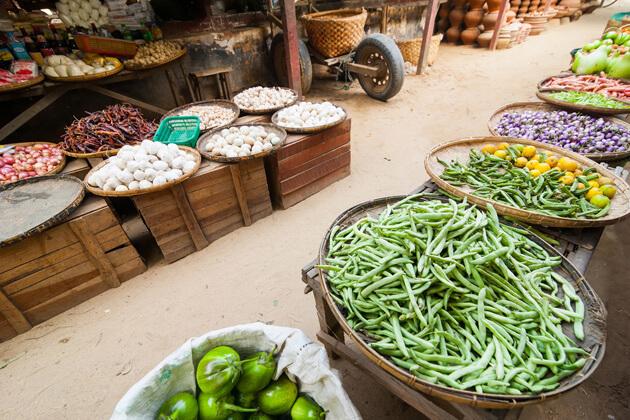 Theingyi Zay Market in Latha township - authentic yangon market
