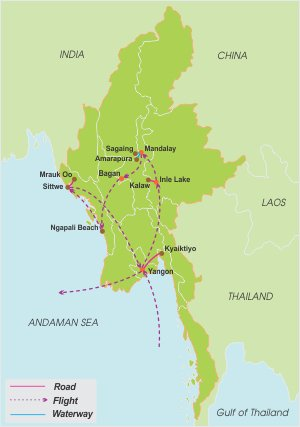 Grand Myanmar Discovery – 20 Days map