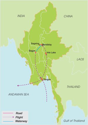 Luxury Burma Honeymoon – 11 Days map