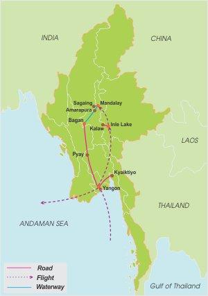 Myanmar Adventure – 16 Days map