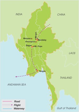 Myanmar Biking – 8 Days map