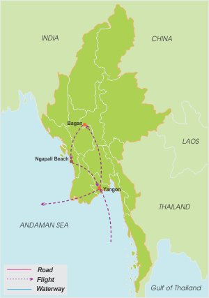 Myanmar Family Discover – 8 Days map