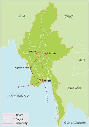 Myanmar Holiday – 14 Days map