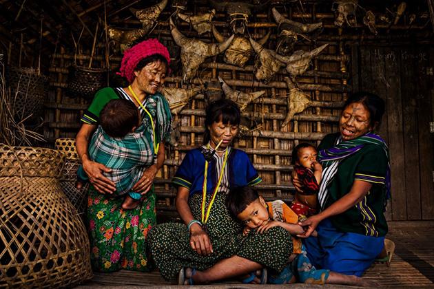 Tattooed women and children in Chin Village