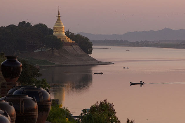 Irrawaddy river sunset