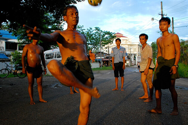 Chin Lone sport of Myanmar is a combination of sports and dance