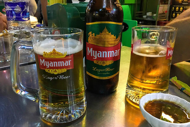 enjoy Myanmar nightlife with a glass of beer is an interesting thing to do