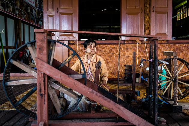 Weaving lotus thread, Inle Lake, Myanmar