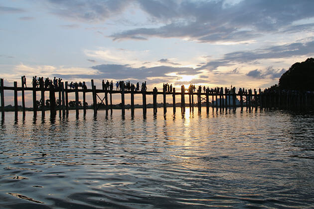 U Bein Bridge - the best site to watch sunset in Mandalay