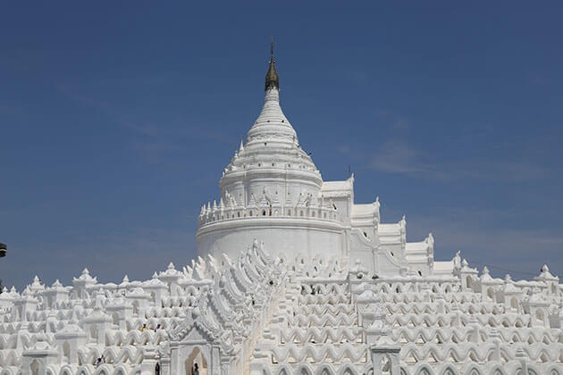 the white-washed mingun temple is an ideal place to visit in myanmar tour 8 days