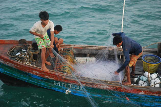 Daily working of the fishermen in Myeik Archipelago